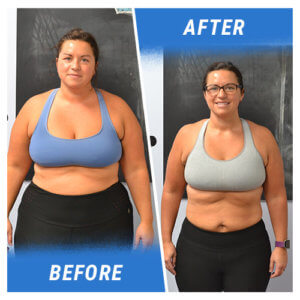 A photo of a woman before and after completing the 10 Week Challenge.