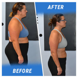 A side profile photo of a woman before and after completing the 10 Week Challenge.