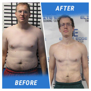 A photo of a man before and after completing the 12 Week Challenge.