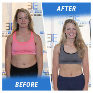 A photo of a woman before and after completing the 13 Week Challenge.