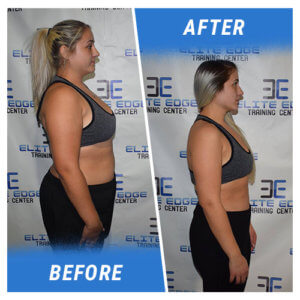 A side profile photo of a woman before and after completing the 7 Week Challenge.