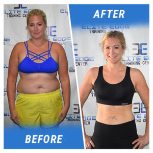 A photo of a woman before and after completing the 8 Week Challenge.