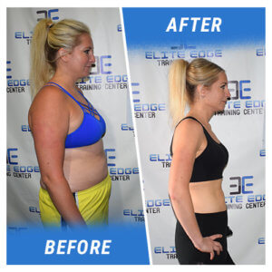 A side profile photo of a woman before and after completing the 8 Week Challenge.
