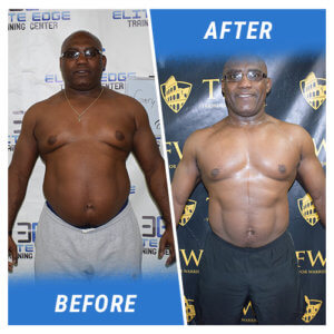 A photo of a man before and after completing the 9 Week Challenge.