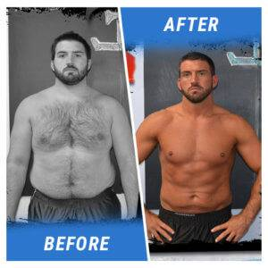 A photo of a man before and after completing the 3 Week Challenge.