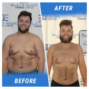 A photo of a man before and after completing a 6 Week Challenge at Elite Edge.